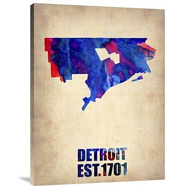 Naxart 'Detroit Watercolor Map' Graphic Art Print on Canvas; 32'' H x 24'' W x 1.5'' D
