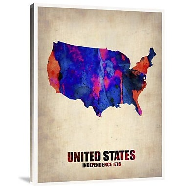 Naxart 'USA Watercolor Map 1' Graphic Art Print on Canvas; 32'' H x 24'' W x 1.5'' D