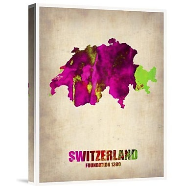 Naxart 'Switzerland Watercolor Map' Graphic Art Print on Canvas; 16'' H x 12'' W x 1.5'' D