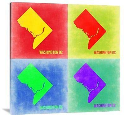 Naxart 'Washington DC Pop Art Map 2' Graphic Art Print on Canvas; 40'' H x 40'' W x 1.5'' D