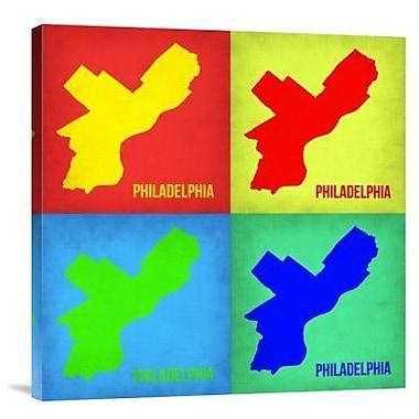 Naxart 'Philadelphia Pop Art Map 1' Graphic Art Print on Canvas in Red; 24'' H x 24'' W x 1.5'' D