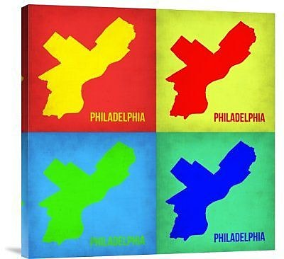 Naxart 'Philadelphia Pop Art Map 1' Graphic Art Print on Canvas in Red; 36'' H x 36'' W x 1.5'' D