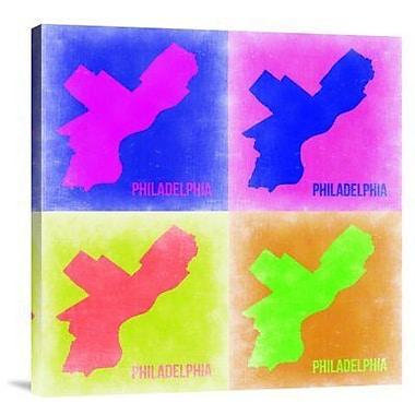 Naxart 'Philadelphia Pop Art Map 1' Graphic Art Print on Canvas in Pink; 40'' H x 40'' W x 1.5'' D