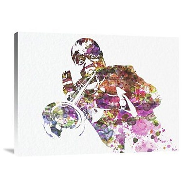 Naxart 'Louis Armstrong 2' Graphic Art Print on Canvas; 18'' H x 24'' W x 1.5'' D