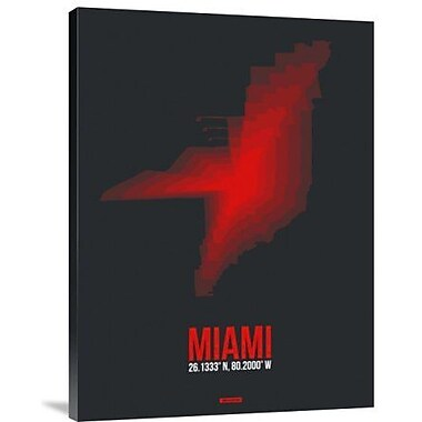 Naxart 'Miami Radiant Map 3' Graphic Art Print on Canvas; 16'' H x 12'' W x 1.5'' D
