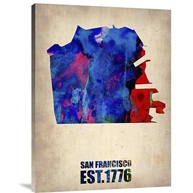 Naxart 'San Francisco Watercolor Map' Graphic Art Print on Canvas; 40'' H x 30'' W x 1.5'' D