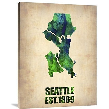 Naxart 'Seattle Watercolor Map' Graphic Art Print on Canvas; 32'' H x 24'' W x 1.5'' D