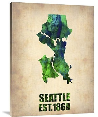 Naxart 'Seattle Watercolor Map' Graphic Art Print on Canvas; 16'' H x 12'' W x 1.5'' D