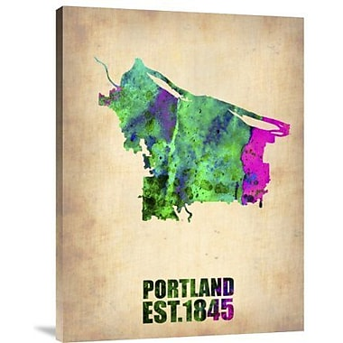 Naxart 'Portland Watercolor Map' Graphic Art Print on Canvas; 16'' H x 12'' W x 1.5'' D
