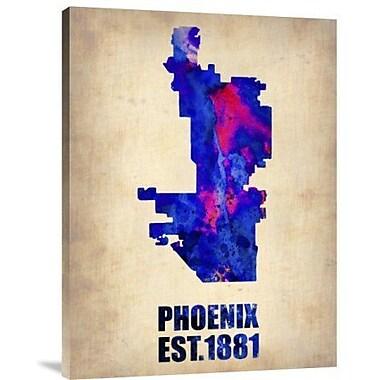Naxart 'Phoenix Watercolor Map' Graphic Art Print on Canvas; 32'' H x 24'' W x 1.5'' D