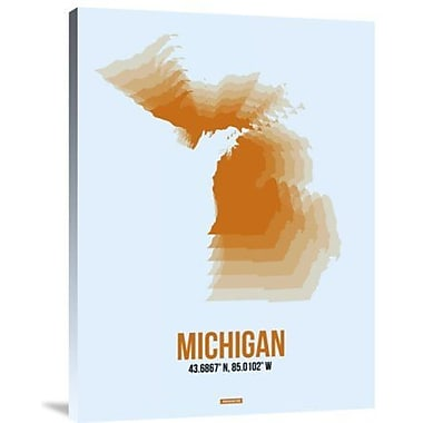 Naxart 'Michigan Radiant Map 2' Graphic Art Print on Canvas; 24'' H x 18'' W x 1.5'' D