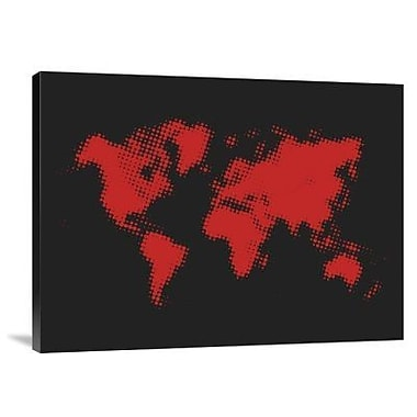 Naxart 'Dotted Red World Map' Graphic Art Print on Canvas; 18'' H x 24'' W x 1.5'' D