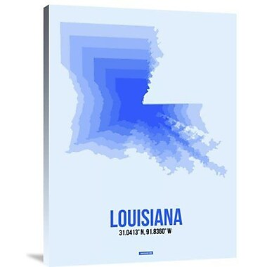 Naxart 'Louisiana Radiant Map 1' Graphic Art Print on Canvas; 24'' H x 18'' W x 1.5'' D