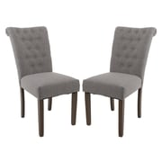 Merax Luxurious Fabric Dining Side Chair (Set of 2); Gray