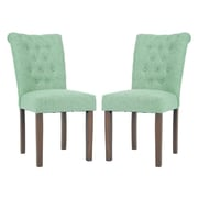 Merax Luxurious Fabric Dining Side Chair (Set of 2); Green
