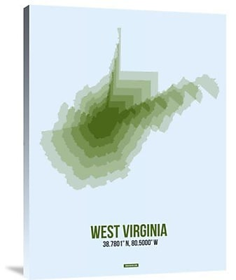 Naxart 'West Virginia Radiant Map 2' Graphic Art Print on Canvas; 16'' H x 12'' W x 1.5'' D