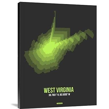 Naxart 'West Virginia Radiant Map 4' Graphic Art Print on Canvas; 32'' H x 24'' W x 1.5'' D