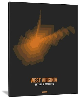 Naxart 'West Virginia Radiant Map 5' Graphic Art Print on Canvas; 40'' H x 30'' W x 1.5'' D