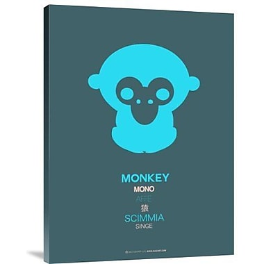 Naxart 'Blue Monkey Multilingual' Graphic Art Print on Canvas; 16'' H x 12'' W x 1.5'' D