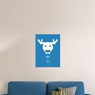 Naxart 'Blue Moose Multilingual' Graphic Art Print on Canvas; 24'' H x 18'' W x 1.5'' D