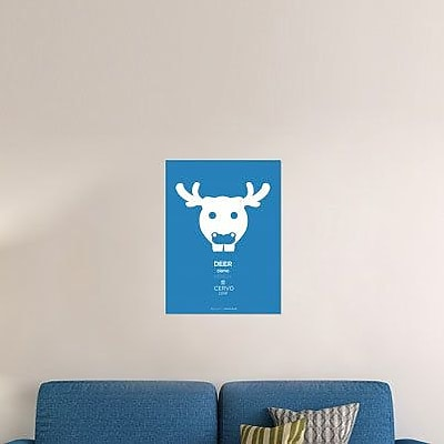 Naxart 'Blue Moose Multilingual' Graphic Art Print on Canvas; 32'' H x 24'' W x 1.5'' D