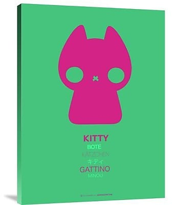 Naxart 'Pink Kitty Multilingual' Graphic Art Print on Canvas; 24'' H x 18'' W x 1.5'' D
