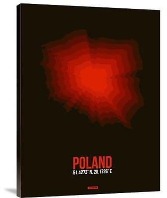 Naxart 'Poland Radiant Map 3' Graphic Art Print on Canvas; 16'' H x 12'' W x 1.5'' D