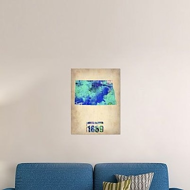 Naxart 'North Dakota Watercolor Map' Graphic Art Print on Canvas; 24'' H x 18'' W x 1.5'' D