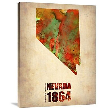 Naxart 'Nevada Watercolor Map' Graphic Art Print on Canvas; 24'' H x 18'' W x 1.5'' D