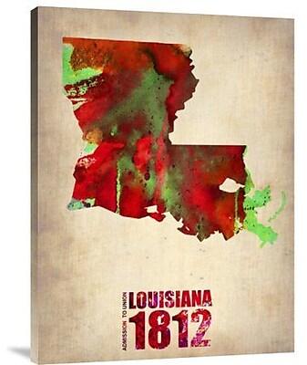 Naxart 'Louisiana Watercolor Map' Graphic Art Print on Canvas; 40'' H x 30'' W x 1.5'' D