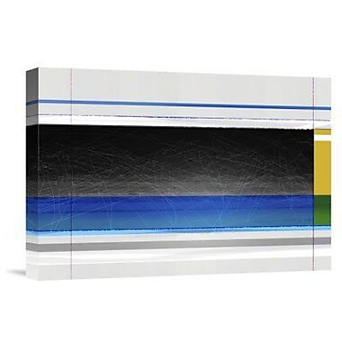 Naxart 'Abstract Blue Black and Yellow' Graphic Art Print on Canvas; 26'' H x 36'' W x 1.5'' D