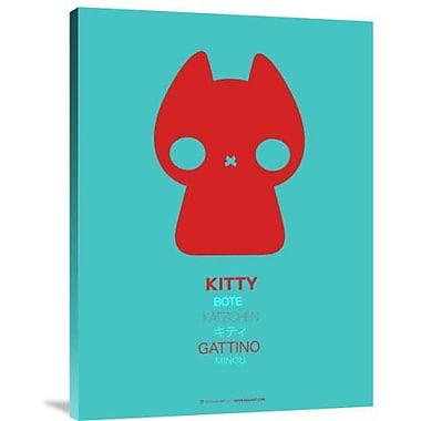 Naxart 'Red and Blue Kitty Multilingual' Graphic Art Print on Canvas; 32'' H x 24'' W x 1.5'' D