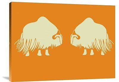 Naxart 'Two White Oxes' Graphic Art Print on Canvas; 24'' H x 32'' W x 1.5'' D