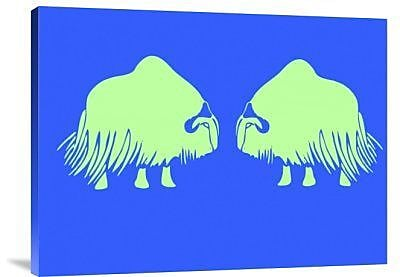 Naxart 'Two Green Oxes' Graphic Art Print on Canvas; 30'' H x 40'' W x 1.5'' D