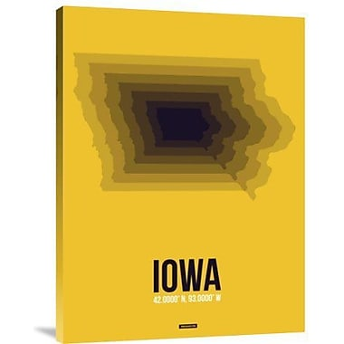 Naxart 'Iowa Radiant Map 3' Graphic Art Print on Canvas; 24'' H x 18'' W x 1.5'' D