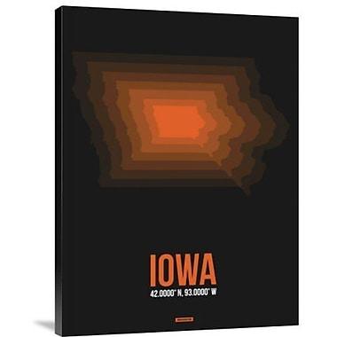 Naxart 'Iowa Radiant Map 6' Graphic Art Print on Canvas; 32'' H x 24'' W x 1.5'' D