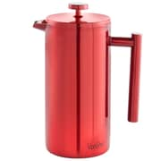 VonShef 12 Cup Double-Wall Keep Warm Coffee Cafetiere; Red