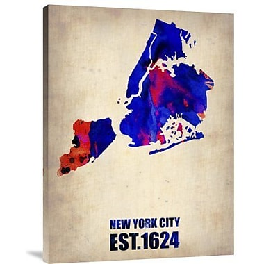 Naxart 'New York City Watercolor Map 1' Graphic Art Print on Canvas; 16'' H x 12'' W x 1.5'' D