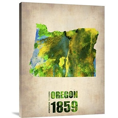Naxart 'Oregon Watercolor Map' Graphic Art Print on Canvas; 16'' H x 12'' W x 1.5'' D