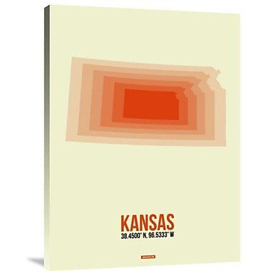 Naxart 'Kansas Radiant Map 1' Graphic Art Print on Canvas; 32'' H x 24'' W x 1.5'' D