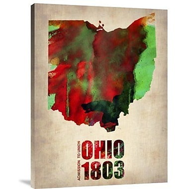 Naxart 'Ohio Watercolor Map' Graphic Art Print on Canvas; 16'' H x 12'' W x 1.5'' D