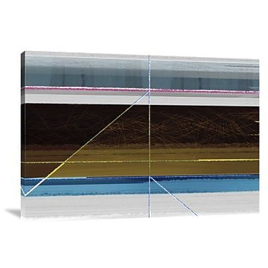 Naxart 'Abstract Blue and Brown Lines' Graphic Art Print on Canvas; 16'' H x 22'' W x 1.5'' D
