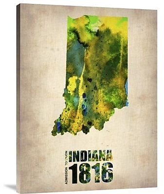 Naxart 'Indiana Watercolor Map' Graphic Art Print on Canvas; 24'' H x 18'' W x 1.5'' D
