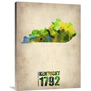 Naxart 'Kentucky Watercolor Map' Graphic Art Print on Canvas; 16'' H x 12'' W x 1.5'' D
