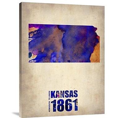 Naxart 'Kansas Watercolor Map' Graphic Art Print on Canvas; 16'' H x 12'' W x 1.5'' D