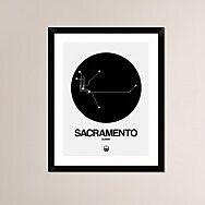 Naxart 'Sacramento Black Subway Map' Framed Graphic Art Print; 30'' H x 24'' W x 1.5'' D