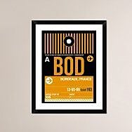 Naxart 'BOD Bordeaux Luggage Tag II' Framed Graphic Art Print; 30'' H x 24'' W x 1.5'' D