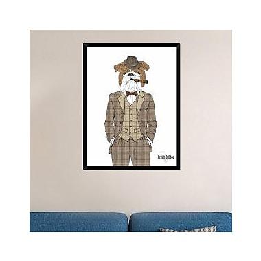 Naxart 'British Bulldog In Tweed Suit' Framed Graphic Art Print on Canvas; 42'' H x 32'' W x 1.5'' D
