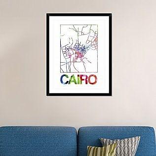 Naxart 'Cairo Watercolor Street Map' Framed Graphic Art Print; 38'' H x 30'' W x 1.5'' D