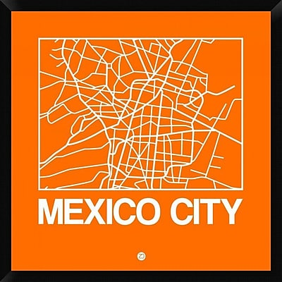 Naxart 'Orange Map of Mexico City' Framed Graphic Art Print on Canvas; 32'' H x 32'' W x 1.5'' D